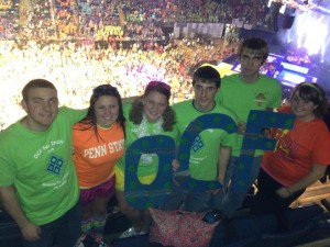 OCF members stand in support of children afflicted with cancer at the 2013 Penn State Dance Marathon. The group contributed $5,824 of the record $12.37 million raised this year. To see more pictures, visit OCF's Facebook page.