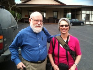 Fr. John poses with Mka. Linda at the Lewistown train station before departing on his four-month, 27,000-mile pilgrimage in 2010. His route retraced the late 18th-century journey that Orthodox missionary saints took from Finland to Alaska.