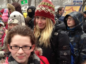 Joelle Rush (left) and Jesse Torbic (behind her to the left) participate in the March for Life in Washington DC.