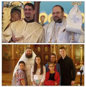 TOP: Newly-ordained Dn. Gabriel Tannous with Bishop Nicholas. BOTTOM: Fr. Edward and his family at his new parish in Illinois.