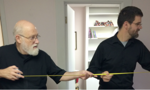 In September, Fr. John and Dn. Alexander inspect what will become a student lounge in a new ministry center for the parish and campus.