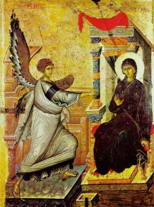 Icon of the Feast of the Annunciation of the Theotokos, celebrated this month on March 25.