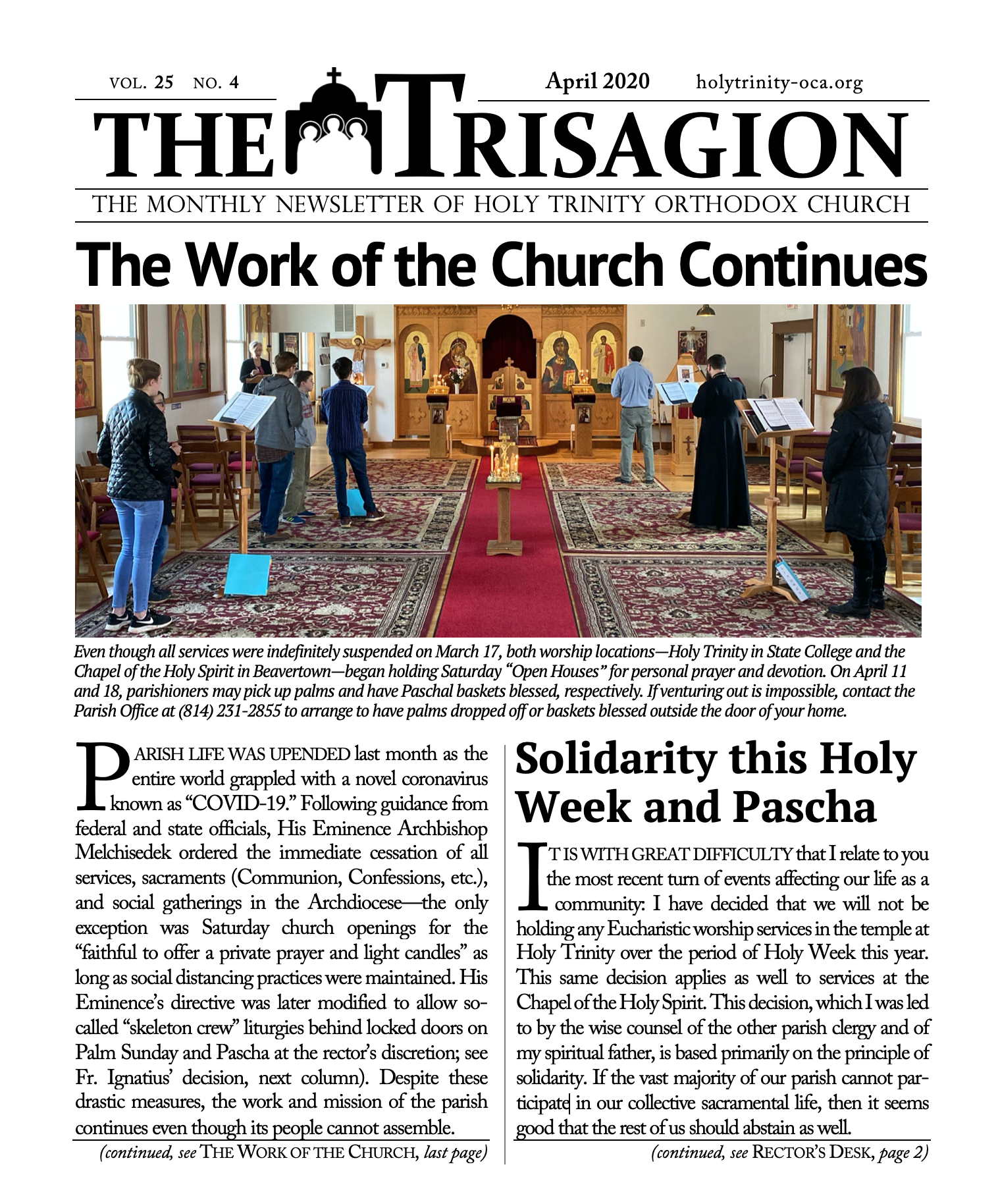 Click here to view to April 2020 Trisagion.