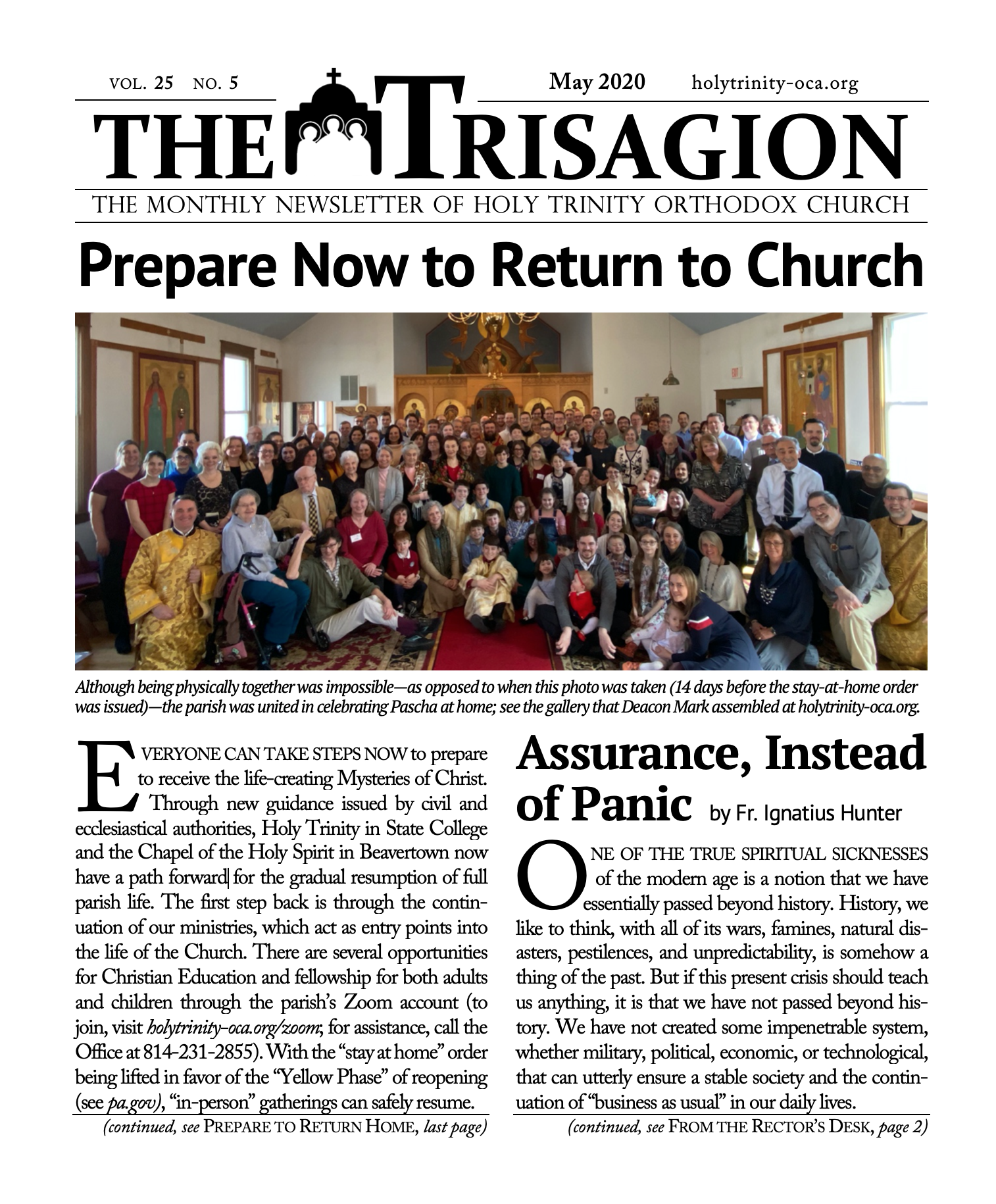 Click here to view the May 2020 Trisagion.